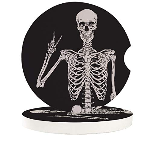 Cup Holders Car Coasters for Women/Men - 2 Pack Absorbent Ceramic Stone Drinks Coaster Set, Funny Skull Skeleton Halloween Victory