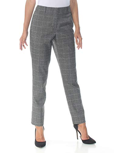 DKNY Womens Glen Plaid Ankle Skinny Pants Gray 18
