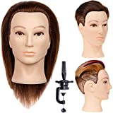 """Stancia Male Mannequin Head,Training Head with 100% Human Hair, 14"""" Barber Mannequin Head, Hairdresser Manikin Head, Training Doll Head for Hair Styling and Practice, Adult Head Size (Dark Brown)"""