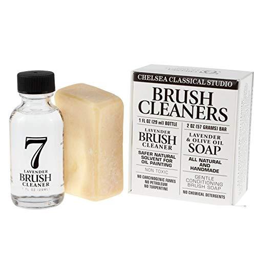 Chelsea Classic Studio Brush Cleaner Sampler Set - 1oz. Lavender Brush Cleaner & Lavender & Olive Oil All Natural Brush