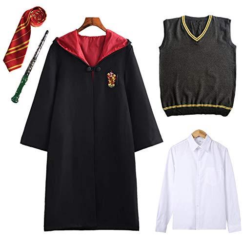 FStory&Winyee Harry Potter Kostüm Kinder Erwachsene Umhang Unisex Gryffindor Hufflepuff Ravenclaw Slytherin Outfit Set Cape,Krawatte,Hemd,Weste Karneval