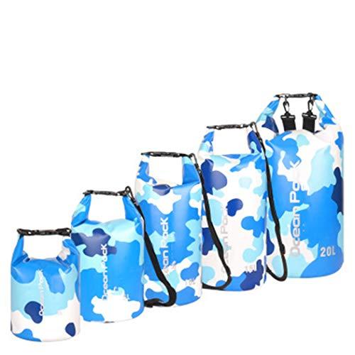 Jancerkmou - Mochila impermeable de camuflaje para exteriores, bolsa seca, kayak, rafting, deportes, almacenamiento portátil, camping, viajes, rio, trekking, bolsa de camuflaje, azul, XXXL