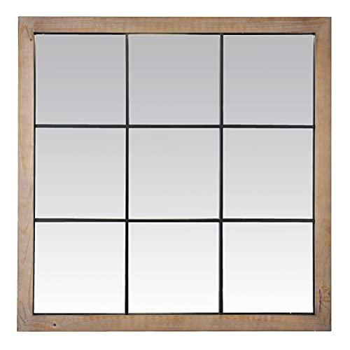 EMDE Miroir Atelier quadrillé en Bois Clair et métal Noir - 100x100cm