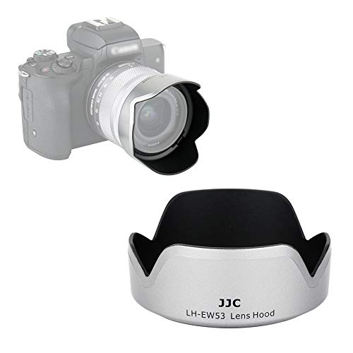 Gegenlichtblende für Canon Zoomobjektiv EF-M 15-45mm F3.5-6.3 is STM für Canon EOS M50 M5 M6 Mark II M200 M100 M10 ersetzt Canon EW-53 - Silber