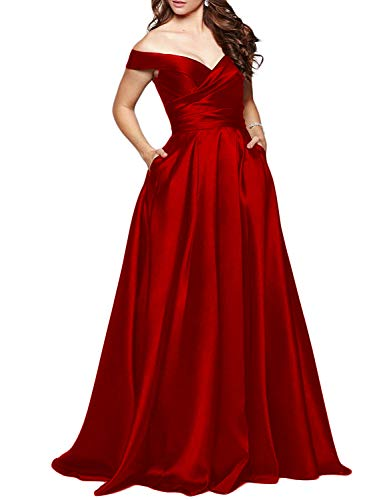 Women Off Shoulder Formal Prom Dresses 2021 Long Evening Bridesmaid Wedding Party Gowns Size 12 Burgundy