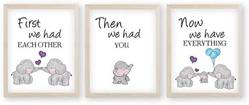 KAIRNE Watercolor Elephant Family Framed Canvas Wall Art First We Had Each Other Quote Art Print product image
