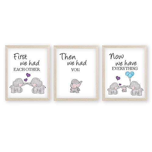 KAIRNE Watercolor Elephant Family Framed Canvas Wall Art ,First We Had Each Other Quote Art Print,Nursery Animal Love Words Picture Ready to Hang For Kids Room Decor