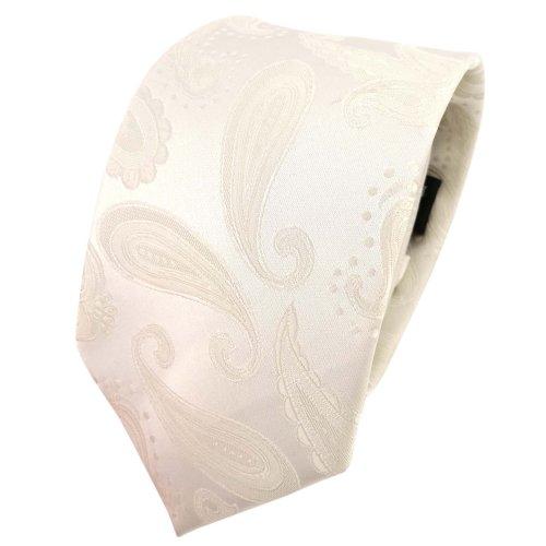 TigerTie Designer Krawatte creme beige cremeweiß Paisley - Schlips Tie