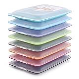 PracticFood - Lote de 8 Porta Embutidos y Alimentos Sistema FRESH, Conservación Optima de Lonchas en Nevera, Medidas 17 x 3.2 x 25.2 cm. 8 Colores Surtidos