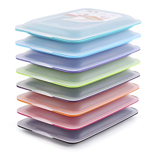 Hochwertige Aufschnittboxen Set .Platzsparend Stapelbar Vorratsdosenset mit Servierplatte. Frischhaltedosen für den Kühlschrank (8X Farben)