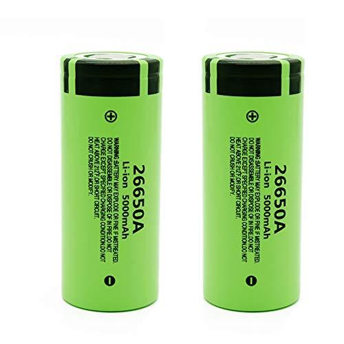 ndegdgswg Batería Li-Ion De 3.7v 5000mah 26650a, BateríAs Recargables De La Alta Capacidad para La Linterna del Led 2pcs