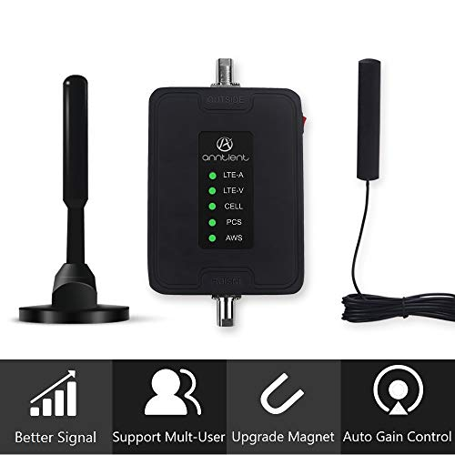 Multiple Band Cell Phone Signal Booster Antenna for Car, Truck and RV - Supports Verizon AT&T T-Mobile Sprint All Carriers - Enhances Your 3G 4G LTE Voice & Data in Vehicle (Band 2/4/5/12/13/17)