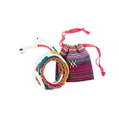 Vam Vam VAAUR001 Auriculares con Cable - Reforzados, Estampados y con Bolsa de Transporte, Rosa/Amarillo/Verde, Estándar