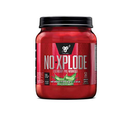 BSN N.O.-Xplode Pre Workout Booster, Energy Drink mit Creatin, Vitamin C, Vitamin D, Vitamin B Komplex, Arginin, Koffein und Beta Alanin, Green Apple, 50 Portionen, 1kg