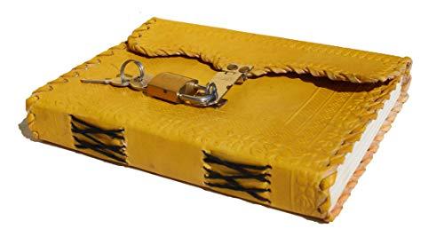 Axuvel Diario personalizado de piel en relieve amarillo hecho a mano con cierre en blanco, rellenable con tapa dura de viaje, registro de sombras, boceto, cuaderno de notas, regalo de 18 x 12,7 x 5 cm