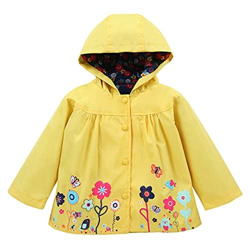TURMIN Jungen Mädchen Wasserdichter Regenmantel Kinder Regenanzug mit Kapuze Windjacke mit Blumendruck Outdoor Sportjacke Oberbekleidung für Kinder 0-5 Jahre-Gelb
