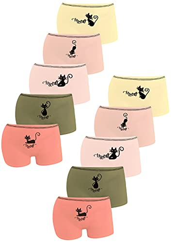 LOREZA ® 10er Pack Mädchen Pantys Boxershorts Unterwäsche aus Baumwolle (164/170 , M-4271FM)
