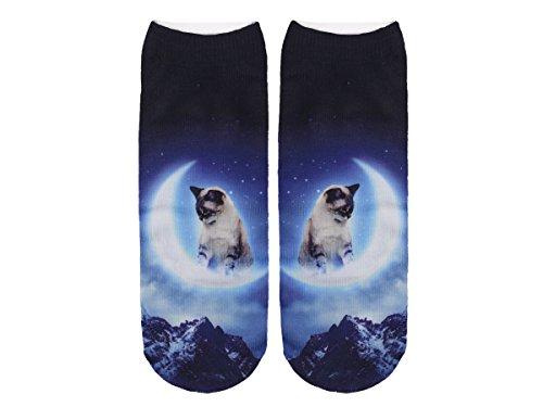 Unbekannt Socken bunt mit lustigen Motiven Print Socken Motivsocken Damen Herren ALSINO, Variante wählen:SO-L023 Katze Mond