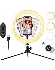 """10"""" Luz de Anillo LED, Aro de Luz con Bluetooth, con 3 Colores y 10 Niveles de Brillo, con Soporte Giratorio de Móvil para Fotografía/Maquillaje"""