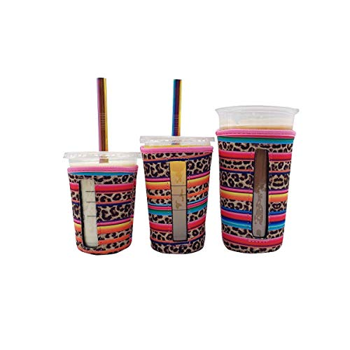 Wiederverwendbare Isolierhüllen für Eiskaffeetassen, mit Fenster für kalte Getränke und Neopren-Becherhalter für Starbucks Kaffee, McDonald's Kaffee, Dunkin Donuts, mehr (Regenbogen-Leopard), 3 Stück