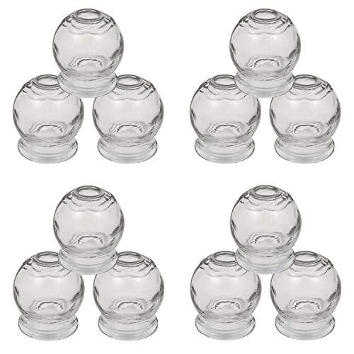 Set di 12 coppette in vetro ø 6 cm altezza 7,5 cm per massaggi a vuoto / vetro Cupping Dia 6 cm