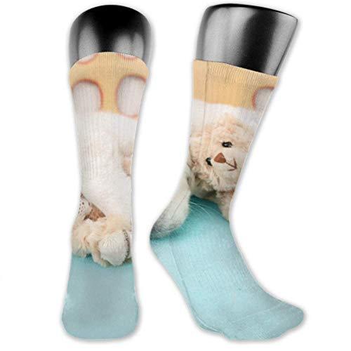Calcetines Leila Marcus para hombres y mujeres son cómodos, ligeros y sudorosos, divertidos juguetes para dormir para cachorros dorados en calcetines medianos y largos.