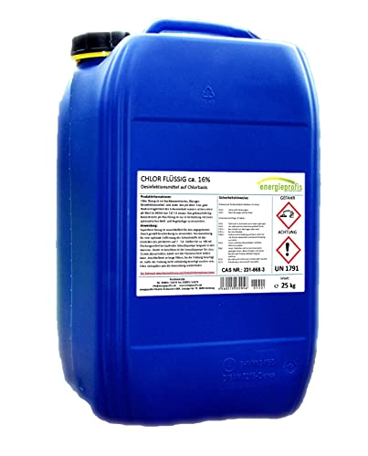 energieprofis 25 kg (1 x 25 kg) Pool Chlor flüssig 13%