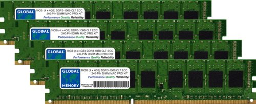 GLOBAL MEMORY 16 GB (4 x 4 GB) DDR3 1066 MHz PC3-8500...