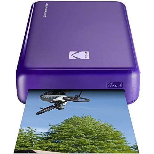 Kodak–Stampante fotografica Mini 2HD, istantanea, senza fili e mobile con tecnologia di stampa brevettata 4Pass, compatibile con iOS e Android, viola