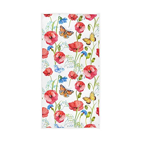 F17 Toalla de mano con estampado de flores de amapola de 30 x 15 pulgadas para el hogar, cocina, baño, gimnasio, natación, spa