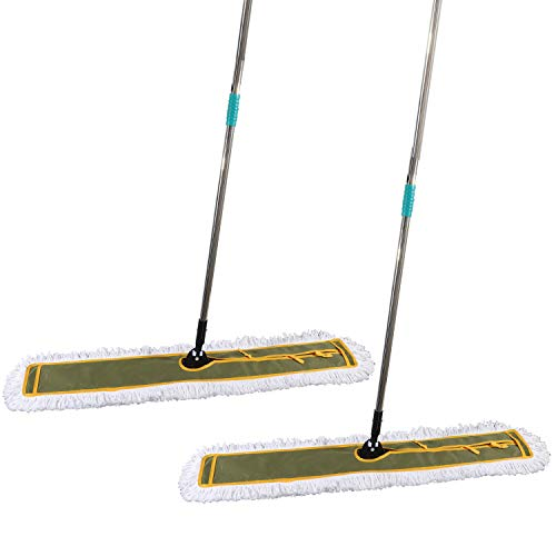 OFO 43inch Industrial Commercial Dust Mop 2 Sets // Heavy Duty Dust Mop // 63inch Length Stainless Steel Handle //Easily Clean Large Area Factory,Shopping Mall,Garage