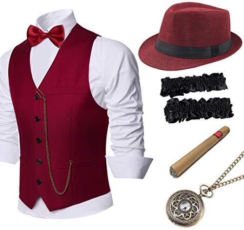 Coucoland 1920s Accessoires Herren Mafia Gatsby Kostüm Set inklusive Panama Gangster Hut Herren Weste Halsschleife Fliege Gangster Armband Taschenuhr und Plastik Zigarre (Weinrot, S)
