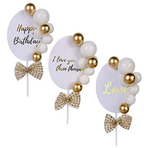 ABOOFAN Alles Gute zum Geburtstag Kuchen Topper Liebe Acryl Cupcake Topper Eingefügt Picks Gold Ballon Ball Hochzeitsfeier Liefert Dekorationen 3Pcs