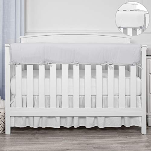 TILLYOU 1-Pack Padded Baby Crib Rail Cover Protector Safe Teething Guard Wrap for Long Front Crib Rails(Measuring Up to 18' Around), 100% Silky Soft Microfiber Polyester, Reversible, Pale Gray/White