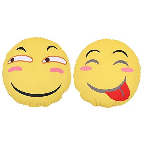 Gevulde pluche emoji kussen, schattig kussen grappig emoji emoticon kussen met stressverlichter enter-knop beste cadeau voor verjaardagsvakantie, gele ronde zachte emoticon kussen kussen