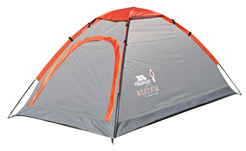Trespass Beatnik, Smoke, 2 Person Tent 200cm x 120cm x 100cm / 1,8kg / Waterproof / Fire Retardant, Grey