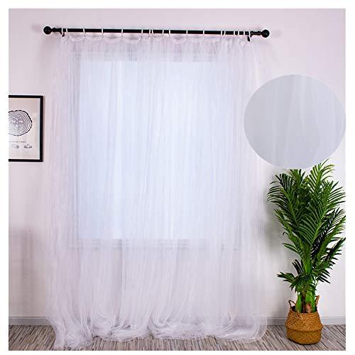 XLGX Rideau Voilage Rideaux,Semi-Transparents Blanc Fil Rideau Rideau Fin Voile,pour Chambre Salon Une Tranche-Jaune 100x200 cm (Blanc)