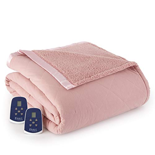 Thermee Micro Flannel Electric Blanket with Sherpa, Blush, King