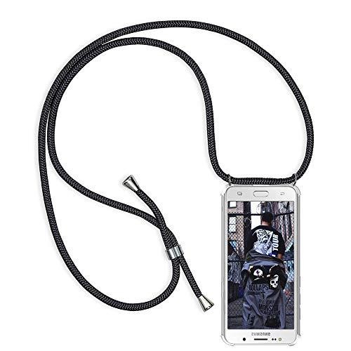 Handykette kompatibel mit Samsung Galaxy J7 2016 J710, Schutzhülle Smartphone Necklace Hülle mit Band Handyhülle Transparent Weich TPU Silikon Relief Vier-Ecken Starke Stossfest Hülle - Schwarz