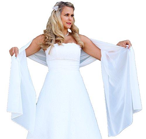 Unbekannt Schal Brautkleid Stola Umschlagtuch Chiffon weiß Ivory Jacke Braut 230x70 Bolero Braut (Weiß)