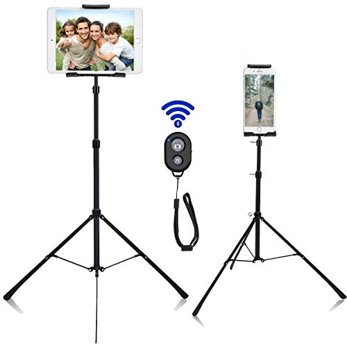 Weiyudang Phone/Ipad Floor Stand Tripod Holder Mount Portable Height Adjustable 20 to 50 Inch 360 Degree Rotating for All 4-12 inch Phone and Tablets, Bluetooth Remote Control and Carry Bag As Gift