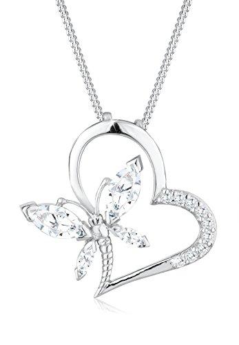Elli Halskette Damen Herz Schmetterling Anhänger Elegant mit Zirkonia Kristallen aus 925 Sterling Silber