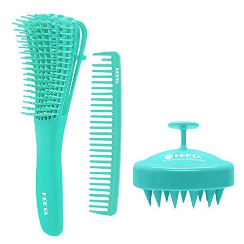 HEETA 3Pcs Detangler Brush, Hair Shampoo Brush for Dry and Wet Hair, Silicone Scalp Massager, Detangling Hair Comb Set for Wavy Kinky Curly Thin Thick Long Short Hair for Women Men, and Kids (Green)