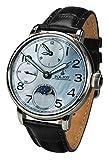 Orologio meccanico da uomo con doppio timer, carica manuale, cinturino in pelle.