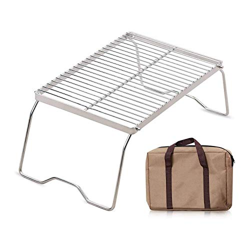 XTSKLY Folding Campfire Grill, Portable and Heavy Duty 304 Stainless Steel Camp Grill Grate, Over Fire Camping Grill with Legs and Carrying Bag for Outside Picnic BBQ, Medium