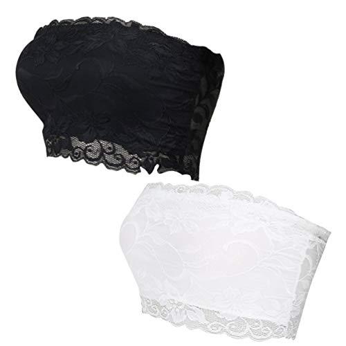 Sutiã KesYOO com 2 peças sem costura e renda floral, sutiã elástico sem alças no peito para meninas e mulheres M, Preto + branco, L