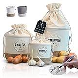 Juego de 3 cajas de almacenamiento de tela [sostenible] para patatas cebollas ajos decoración de cocina cocina baño cesta vintage retro bolsa de lino almacenamiento de alimentos y verduras (claro)