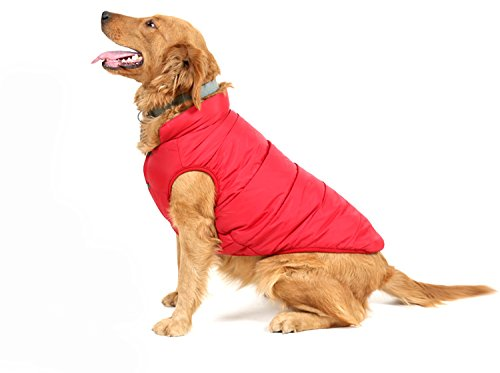 PENVO Ropa para Perros de Mascotas, Abrigos y Chaquetas Impermeables de Invierno para Perros pequeños y medianos Grandes Chaleco de Perro Cachorro Traje de suéter (Rojo, XL)