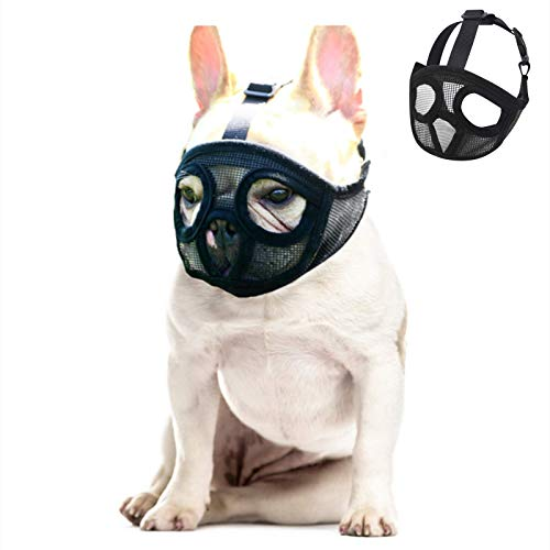 Doglay Short Snout Dog Muzzles - Adjustable Soft Breathable Mesh French Bulldog Mask with Eyehole Best to Prevent Biting,Chewing and Barking,S