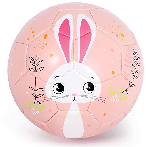 PP PICADOR Kids Football Cute Cartoon Toddler Ball with Pump Toy Gift for Children, Boys, Girls, Kindergarten (Pink Bunny, Size 3)